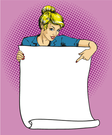 Woman holds blank white paper poster. Pop art comic retro style vector illustration. Put your own text template.