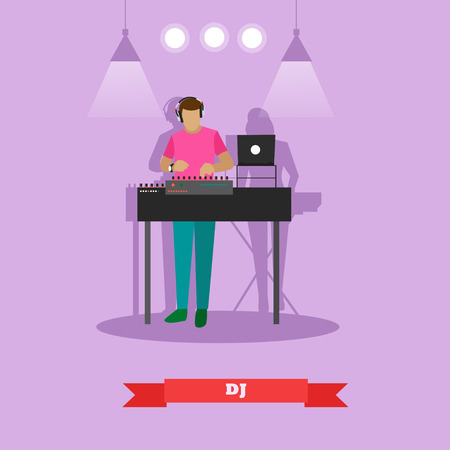 soundsystem: DJ plays on a party. Vector illustration in flat style design.