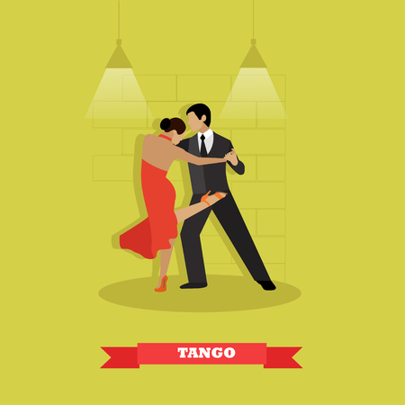 arts culture and entertainment: Couple dance tango concept vector poster. Man and woman dancing on a stage.