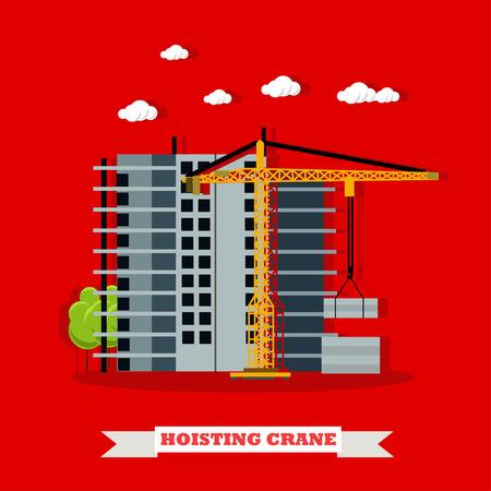 site: Construction site concept vector banner. Building under construction. Hoisting crane.