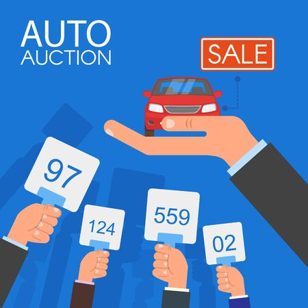 Auction and bidding concept vector illustration in flat style design. Selling car.  イラスト・ベクター素材