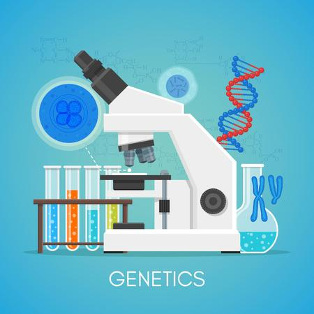 Genetics science education concept vector poster in flat style design. Biology school laboratory equipment.