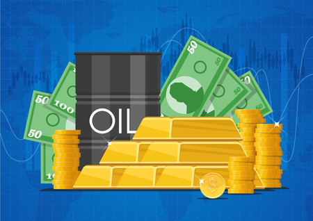 Oil cask, gold bars and piles of money. Business and finance markets concept vector illustration.