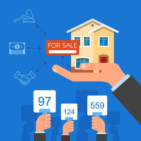 home buyer: Auction and bidding concept vector illustration in flat style design. Selling house from auction. Illustration