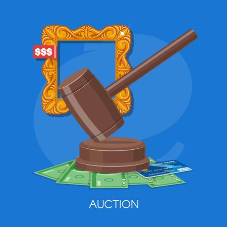 bidding: Auction and bidding concept vector illustration in flat style design. Selling arts.