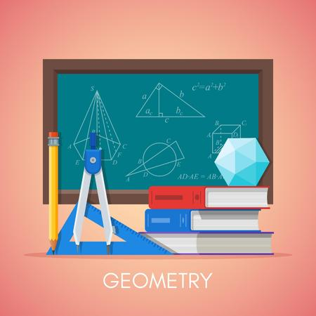 Geometry science education concept vector poster in flat style design. Geometry and math symbols on a school chalkboard.