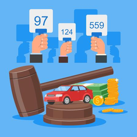 bidding: Auction and bidding concept vector illustration in flat style design. Selling car from auction. Illustration