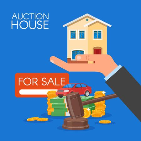 bidding: Auction and bidding concept vector illustration in flat style design. Selling house. Illustration