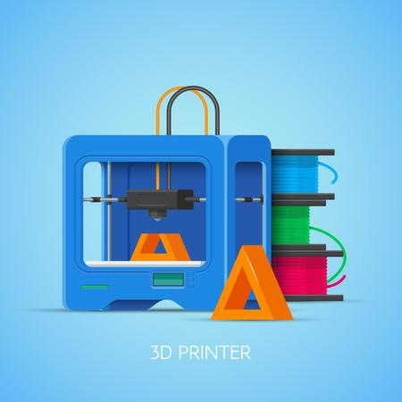 3D printing vector concept poster in flat style. Design elements and icons. Industrial 3D printer.