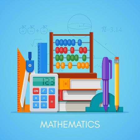 Math science education concept vector poster in flat style design. Stock Vector - 62271108