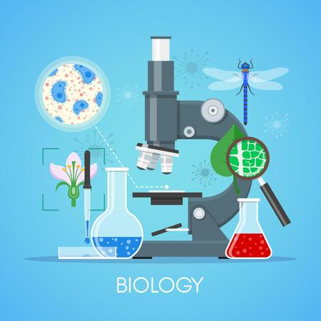Biology science education concept vector poster in flat style design. Biology school laboratory equipment. Illustration