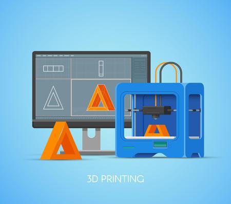 Plakat koncepcji drukowania 3D w stylu płaskim. Elementy projektu i ikony. Drukarki przemysłowe 3D drukuj obiekty z modelu komputerowego.