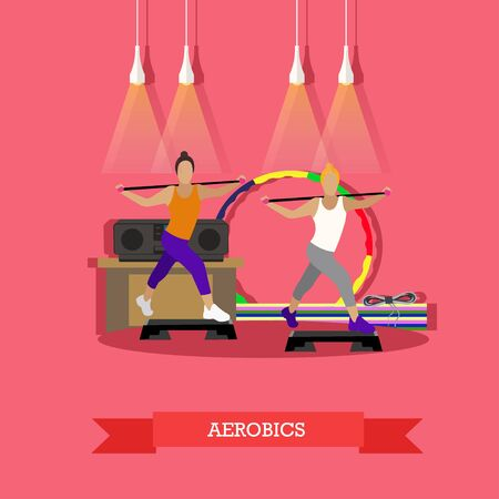 Two young girls doing aerobics under music in fitness studio. Around sports equipment  , step-up platform, mats, tape recorder. Sports vector illustration in flat style design.