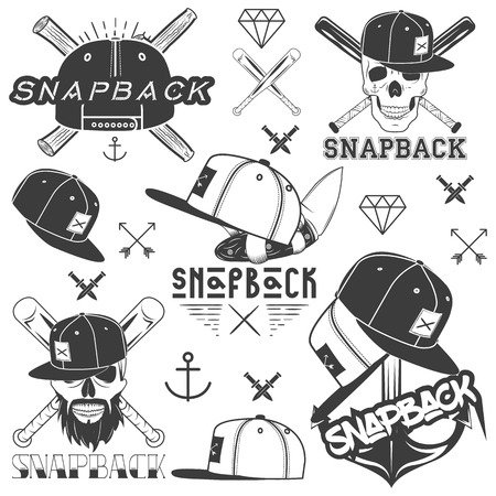 flat cap: Vector monochrome set of snapback badges, emblems, labels   and design elements. Isolated illustration in vintage style with flat cap hats, skulls, bats, anchors Illustration