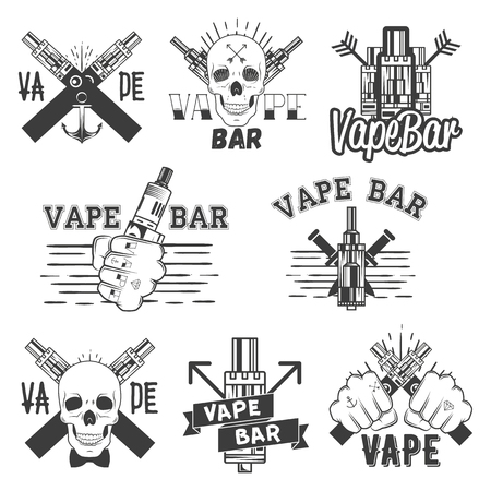 vaporized: Vector monochrome set of vape bar stickers, banners,  labels, emblems or badges. Vintage style electronic cigarette and skulls. Isolated illustration