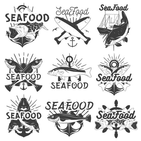 bream: Vector monochrome set of seafood emblems, badges, banners   Isolated illustration in vintage style for groceries, stores, restaurant, packing Illustration