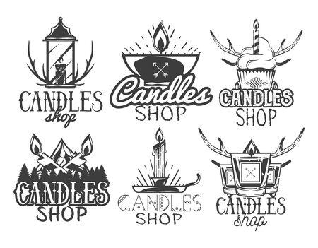 candleholder: Vector set of candle shop labels. Isolated  badges, emblems in vintage style. Monochrome colors Illustration