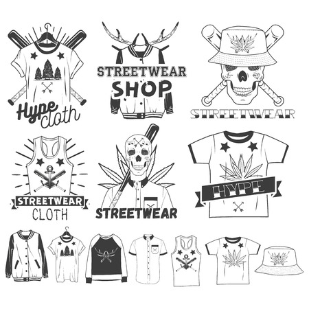 panama hat: Vector set of streetwear shop   emblems, badges or labels. Isolated vintage illustrations with skulls, t-shirts, sweatshirts, bomber jacket, hats and bats