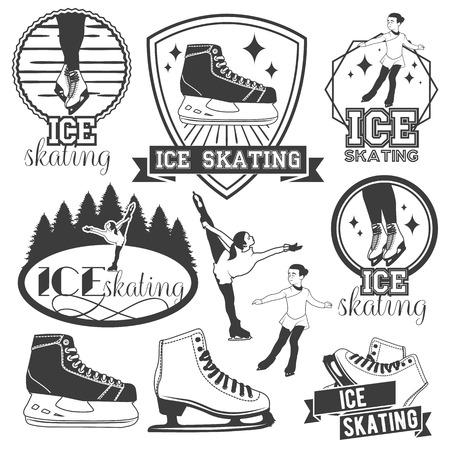 アイス スケートのエンブレム、バッジ、バナー、デザイン要素のベクトルを設定します。ビンテージ スタイルの分離白黒イラスト  イラスト・ベクター素材