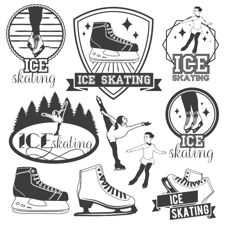 Vector set of ice skating emblems, badges,  banners, design elements. Isolated monochrome illustrations in vintage style Vettoriali