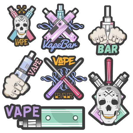 vaporized: Vector colorful set of vape bar stickers, banners,   labels, emblems or badges. Vintage style electronic cigarette and skulls. Isolated illustration
