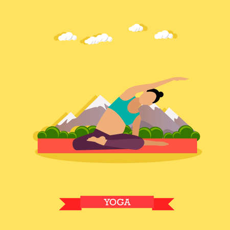 pregnancy yoga: Pregnant girl practicing yoga and stretching on the mat, outdoor. Yoga practice for healthy pregnancy. Active healthcare lifestyle. Vector illustration in flat design
