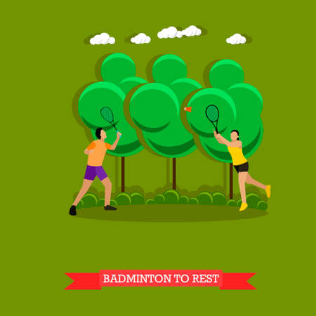 active lifestyle: Vector illustration of young couple is playing badminton outside in good weather. Sport equipment, two badminton rackets and a shuttlecock. Outdoor active lifestyle. Flat design style Stock Photo
