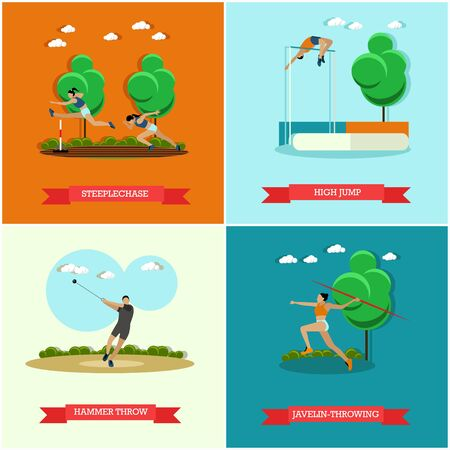 steeplechase: Vector set of track and field athletics. Steeplechase, high jump, javelin throw and hammer throw. Male and female athletes.   Flat design