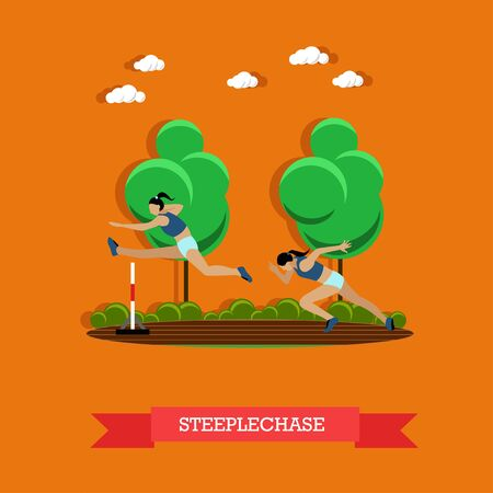 steeplechase: Vector illustration of two steeplechase female athletes. Track and field athletics competitions. Sportswomen running on the track and jumping over the hurdle. Flat design