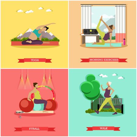 morning walk: Vector set of healthy pregnancy. Morning exercise, fitness, fitball training, walk and yoga for pregnant women. Active healthcare lifestyle. Flat design