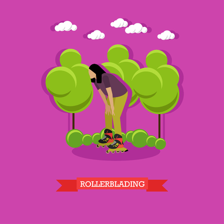 rollerblading: Young woman rollerblading in the park. inline skater stopped to rest. Extreme sport, active lifestyle. Flat design vector illustration
