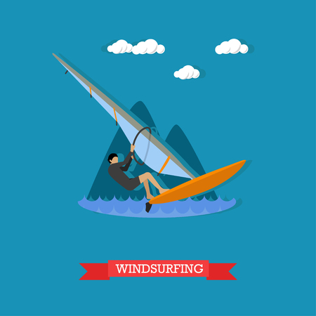 wetsuit: Man in wetsuit rushes on the board with sail. Windsurfing, water sport. Active lifestyle. Vector illustration in flat design