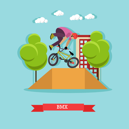 skatepark: BMX cyclist performing stunt in the skatepark on the street. Guy doing a tail whip at ramp. Extreme sport. Flat design vector illustration