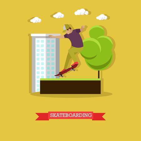 extreme sport: Skateboarder performing stunt in the skatepark on the street. Guy doing a lipslide at ramp. Extreme sport. Flat design vector illustration Illustration