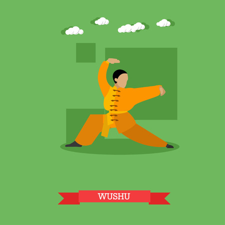 wushu: Wushu fighter shows his skills. National martial art from China. Vector illustration in flat design Illustration