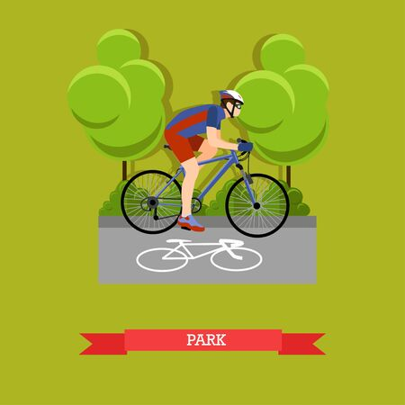 Vector illustration of cyclist riding on bike in the park. Sports equipment, helmet, gloves, glasses, sneakers and bicycle. City landscape. Flat design Illustration