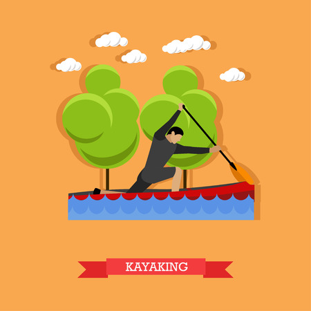 Man swims in kayak with paddle. Kayaking sportsman. Active lifestyle. Vector illustration in flat design
