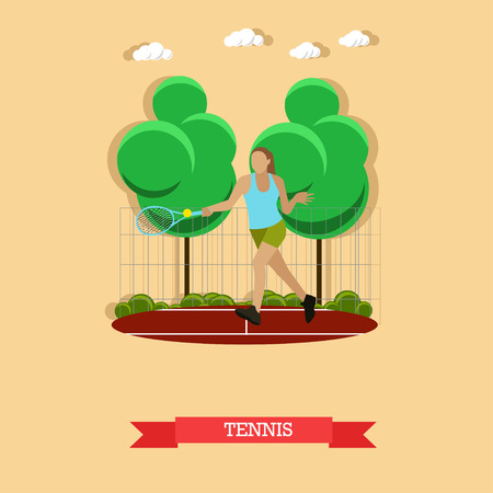 Vector illustration of female tennis player do forehand on the outdoor court. Sportswoman trains strokes with a tennis racket and ball. Active lifestyle. Flat design