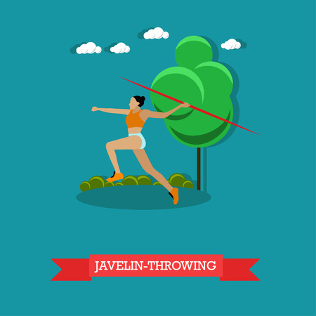 hurling: Vector illustration of sportswoman javelin throwing. Track and field athletics competitions. Female athlete running to throw javelin. Flat design