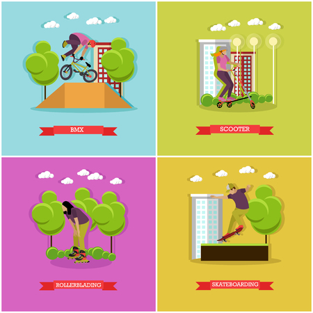 active lifestyle: Vector set of skate sports. Skateboarding, rollerblading, kick scooter and bmx. Summer activities. Active lifestyle. Flat design Illustration