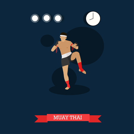elbows: Muay Thai fighter kicking. Thai boxing training. National martial art from Thailand. Vector illustration in flat design