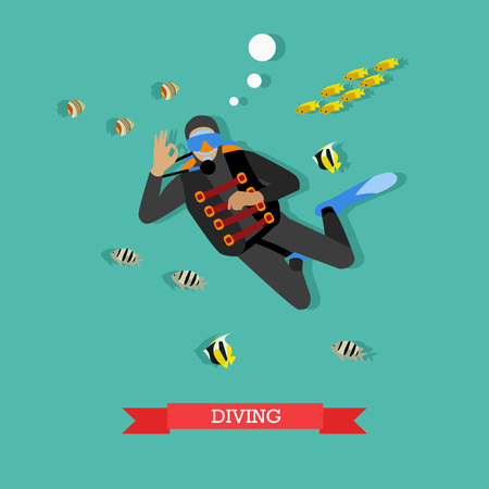dive: Scuba-diver under water with tropical fishes. Dive gear and equipment, scuba, mask, flippers and wetsuit. Underwater active recreation. Vector illustration in flat design