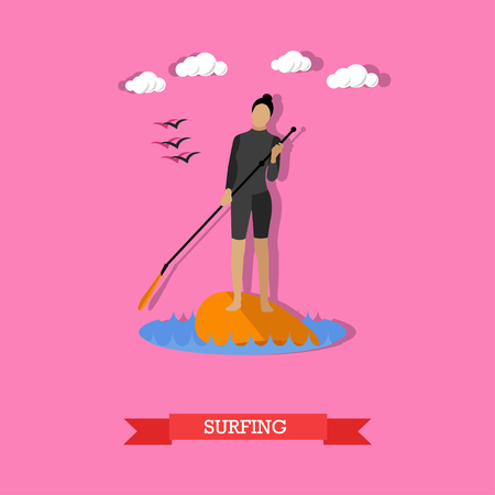 wetsuit: Young woman in wetsuit swim on stand up paddle board. SUP surfing. Active lifestyle. Vector illustration in flat design