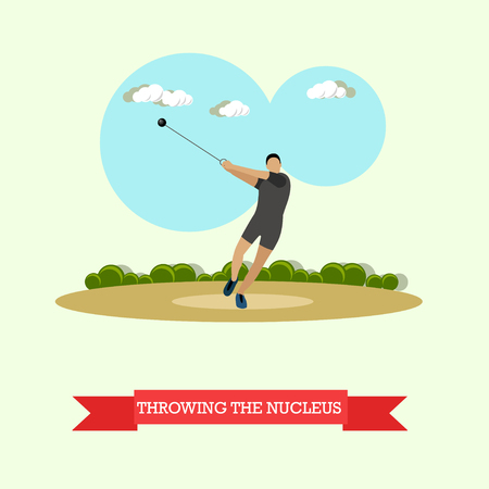 hammer throw: Vector illustration of hammer throw sportsman. Track and field athletics competitions. Male athlete preparing to throw a hammer. Flat design