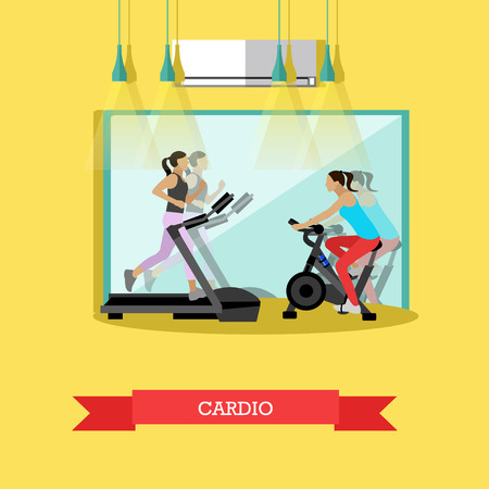 stationary bike: Young girls are working out cardio exercises in the gym, running on a treadmill, riding a stationary bike. Fitness studio with big mirror and sports equipment. Vector illustration in flat design Illustration