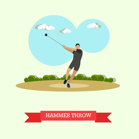 sportsmen: Vector illustration of hammer throw sportsman. Track and field athletics competitions. Male athlete preparing to throw a hammer. Flat design