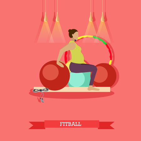 pregnancy exercise: Pregnant woman doing exercises with fitness ball at fitness studio. Yoga practice for healthy pregnancy. Fitball,   yoga mat and jump rope nearby. Vector illustration in flat design Illustration