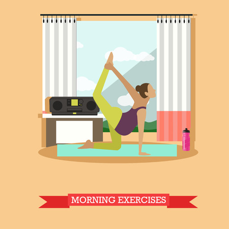 tape recorder: Pregnant girl doing morning exercises to the music. Asana on the yoga Mat, sports water bottle, tape recorder and an open window nearby. Vector illustration in flat design
