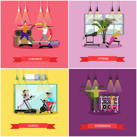 aerobics class: Vector set of workouts for men and women in the gym or fitness studio. Cardio trainings, aerobics, exercises with dumbbells and fitness, sports equipment and training machines. Flat design Illustration
