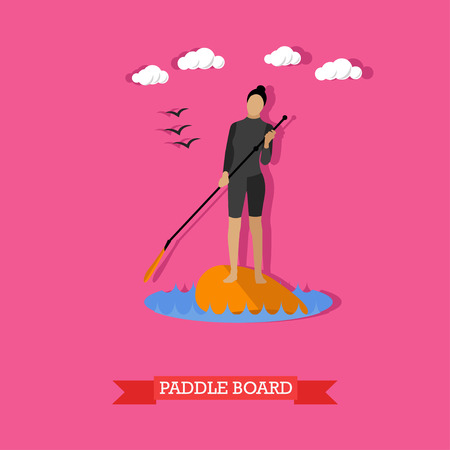 sup: Young woman in wetsuit swim on stand up paddle board. SUP surfing. Active lifestyle. Vector illustration in flat design